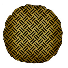 Woven2 Black Marble & Gold Brushed Metal (r) Large 18  Premium Flano Round Cushion  by trendistuff