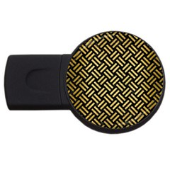 Woven2 Black Marble & Gold Brushed Metal Usb Flash Drive Round (2 Gb) by trendistuff