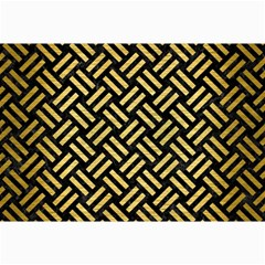 Woven2 Black Marble & Gold Brushed Metal Collage 12  X 18  by trendistuff