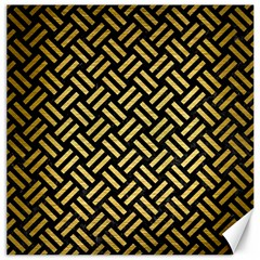 Woven2 Black Marble & Gold Brushed Metal Canvas 16  X 16  by trendistuff
