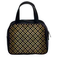 Woven2 Black Marble & Gold Brushed Metal Classic Handbag (two Sides) by trendistuff