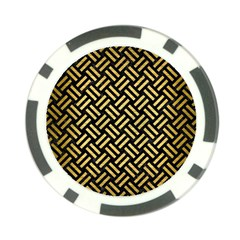 Woven2 Black Marble & Gold Brushed Metal Poker Chip Card Guard (10 Pack) by trendistuff