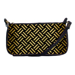 Woven2 Black Marble & Gold Brushed Metal Shoulder Clutch Bag by trendistuff