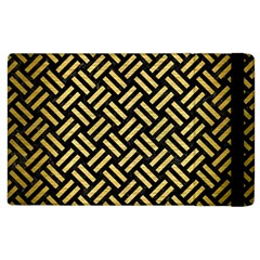 Woven2 Black Marble & Gold Brushed Metal Apple Ipad 2 Flip Case by trendistuff