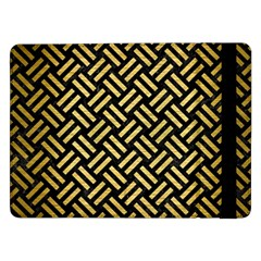 Woven2 Black Marble & Gold Brushed Metal Samsung Galaxy Tab Pro 12 2  Flip Case by trendistuff