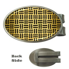 Woven1 Black Marble & Gold Brushed Metal (r) Money Clip (oval) by trendistuff