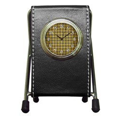 Woven1 Black Marble & Gold Brushed Metal (r) Pen Holder Desk Clock by trendistuff