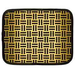 Woven1 Black Marble & Gold Brushed Metal (r) Netbook Case (large) by trendistuff