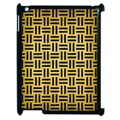 Woven1 Black Marble & Gold Brushed Metal (r) Apple Ipad 2 Case (black) by trendistuff