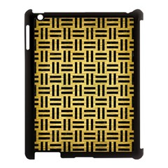 Woven1 Black Marble & Gold Brushed Metal (r) Apple Ipad 3/4 Case (black) by trendistuff