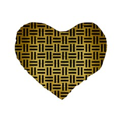Woven1 Black Marble & Gold Brushed Metal (r) Standard 16  Premium Flano Heart Shape Cushion  by trendistuff