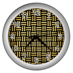 Woven1 Black Marble & Gold Brushed Metal Wall Clock (silver) by trendistuff