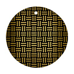 Woven1 Black Marble & Gold Brushed Metal Round Ornament (two Sides) by trendistuff