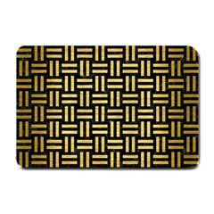 Woven1 Black Marble & Gold Brushed Metal Small Doormat by trendistuff