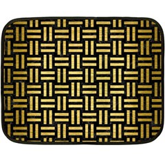 Woven1 Black Marble & Gold Brushed Metal Fleece Blanket (mini) by trendistuff