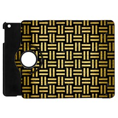 Woven1 Black Marble & Gold Brushed Metal Apple Ipad Mini Flip 360 Case by trendistuff