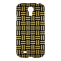 Woven1 Black Marble & Gold Brushed Metal Samsung Galaxy S4 I9500/i9505 Hardshell Case by trendistuff
