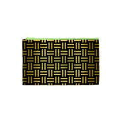Woven1 Black Marble & Gold Brushed Metal Cosmetic Bag (xs) by trendistuff