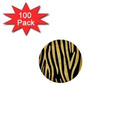 Skin4 Black Marble & Gold Brushed Metal (r) 1  Mini Button (100 Pack)  by trendistuff