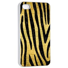 Skin4 Black Marble & Gold Brushed Metal Apple Iphone 4/4s Seamless Case (white) by trendistuff