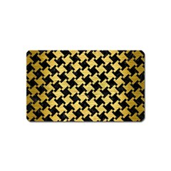 Houndstooth2 Black Marble & Gold Brushed Metal Magnet (name Card) by trendistuff