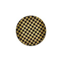 Houndstooth2 Black Marble & Gold Brushed Metal Golf Ball Marker by trendistuff