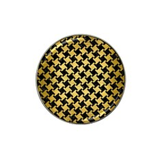 Houndstooth2 Black Marble & Gold Brushed Metal Hat Clip Ball Marker by trendistuff