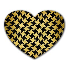 Houndstooth2 Black Marble & Gold Brushed Metal Heart Mousepad by trendistuff