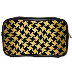 Houndstooth2 Black Marble & Gold Brushed Metal Toiletries Bag (two Sides) by trendistuff