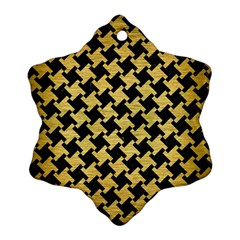 Houndstooth2 Black Marble & Gold Brushed Metal Ornament (snowflake) by trendistuff