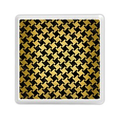 Houndstooth2 Black Marble & Gold Brushed Metal Memory Card Reader (square) by trendistuff