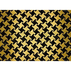 Houndstooth2 Black Marble & Gold Brushed Metal Birthday Cake 3d Greeting Card (7x5)
