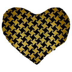 Houndstooth2 Black Marble & Gold Brushed Metal Large 19  Premium Heart Shape Cushion by trendistuff