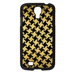 Houndstooth2 Black Marble & Gold Brushed Metal Samsung Galaxy S4 I9500/ I9505 Case (black) by trendistuff