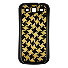 Houndstooth2 Black Marble & Gold Brushed Metal Samsung Galaxy S3 Back Case (black) by trendistuff