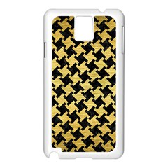 Houndstooth2 Black Marble & Gold Brushed Metal Samsung Galaxy Note 3 N9005 Case (white) by trendistuff