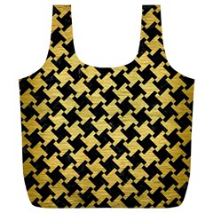 Houndstooth2 Black Marble & Gold Brushed Metal Full Print Recycle Bag (xl) by trendistuff