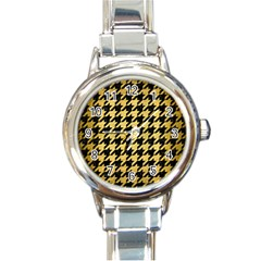 Houndstooth1 Black Marble & Gold Brushed Metal Round Italian Charm Watch by trendistuff