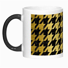 Houndstooth1 Black Marble & Gold Brushed Metal Morph Mug by trendistuff