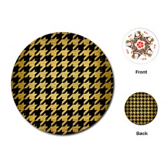 Houndstooth1 Black Marble & Gold Brushed Metal Playing Cards (round) by trendistuff