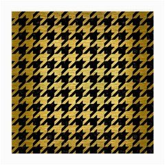 Houndstooth1 Black Marble & Gold Brushed Metal Medium Glasses Cloth by trendistuff