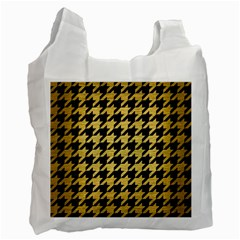 Houndstooth1 Black Marble & Gold Brushed Metal Recycle Bag (one Side) by trendistuff