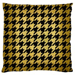 Houndstooth1 Black Marble & Gold Brushed Metal Standard Flano Cushion Case (one Side) by trendistuff