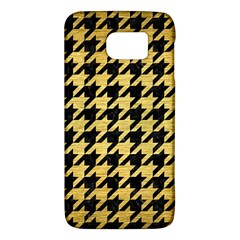 Houndstooth1 Black Marble & Gold Brushed Metal Samsung Galaxy S6 Hardshell Case  by trendistuff