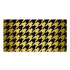 Houndstooth1 Black Marble & Gold Brushed Metal Satin Shawl by trendistuff