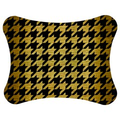 Houndstooth1 Black Marble & Gold Brushed Metal Jigsaw Puzzle Photo Stand (bow) by trendistuff