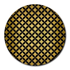Circles3 Black Marble & Gold Brushed Metal (r) Round Mousepad by trendistuff