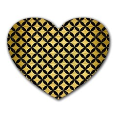 Circles3 Black Marble & Gold Brushed Metal (r) Heart Mousepad by trendistuff