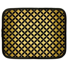Circles3 Black Marble & Gold Brushed Metal (r) Netbook Case (xl) by trendistuff