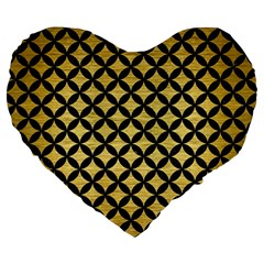Circles3 Black Marble & Gold Brushed Metal (r) Large 19  Premium Heart Shape Cushion by trendistuff